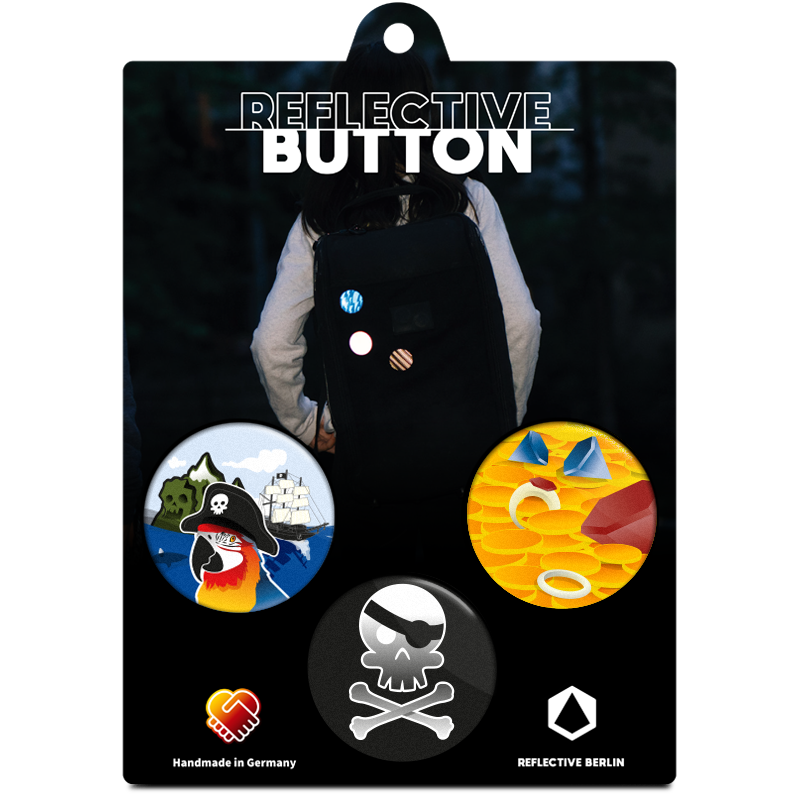 Reflective BUTTON, Piraten, Produktbild