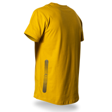 Laden Sie das Bild in den Galerie-Viewer, Reflective T-SHIRT, product picture back, mustard yellow, Swirl