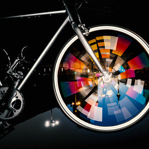 reflective spokes, colorful, spinning wheel