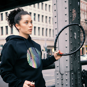 Reflective Hoodie, black, Swirl, city bike lock