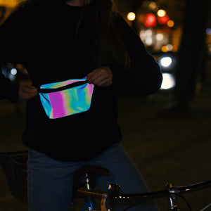 Reflective Pouch, rainbow colors, night
