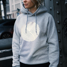 Laden Sie das Bild in den Galerie-Viewer, Reflective Hoodie, grey, swirl print, urban streetwear