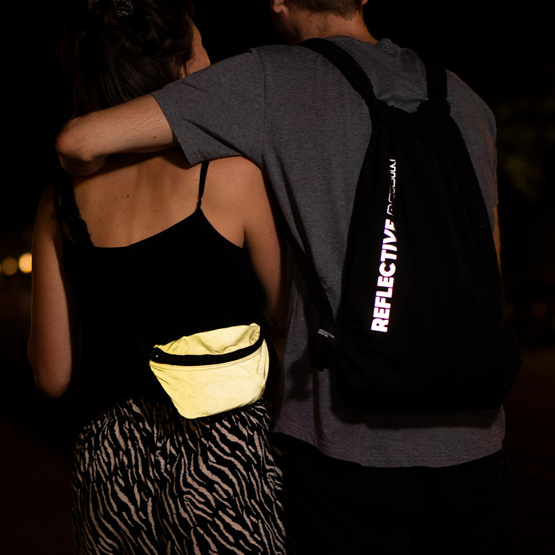 reflective pouch and logo bag, night walk