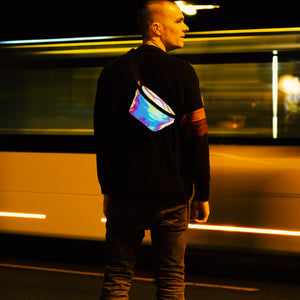 Reflective Pouch at night in urban traffic