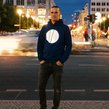 Laden Sie das Bild in den Galerie-Viewer, Reflective Hoodie, blue navy, city, reflection
