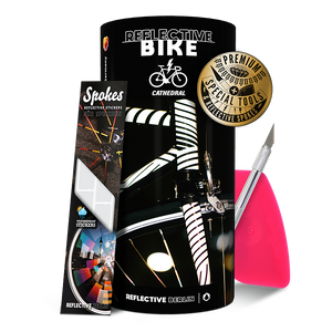 Reflective BIKE, DIY Sticker Kit, Cathedral Design, weiß, premium