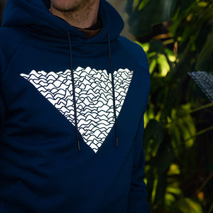 Close-up Reflective Print, Blue Hoodie