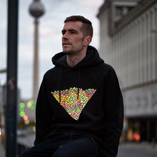 Laden Sie das Bild in den Galerie-Viewer, Reflektierender Pullover, Reflective Hoodie, black with rainbow print, Berlin