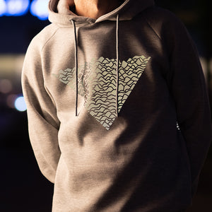 Grey Hoodie with Wave Print, reflective
