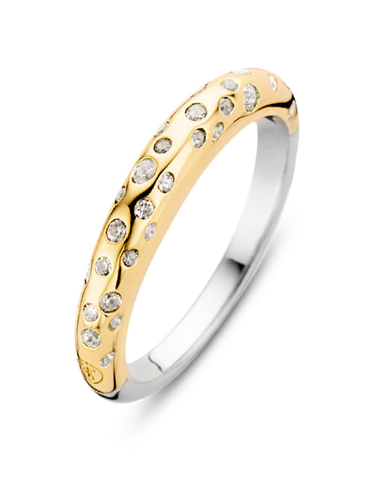 Ti Sento 18ct Gold Plated Silver & Zirconia Stardust Ring