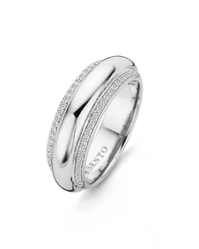 Ti Sento Sterling Silver & Cubic Zirconia Wide Ring