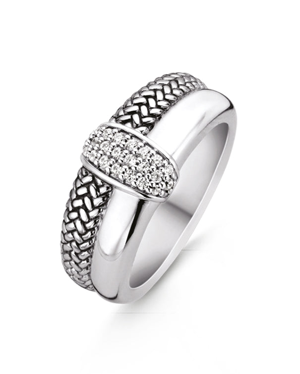 Ti Sento Wide Sterling Silver & Cubic Zirconia Centre Ring