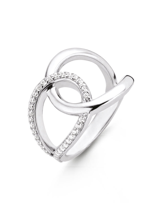 Ti Sento Sterling Silver & Cubic Zirconia Interlocking Ring