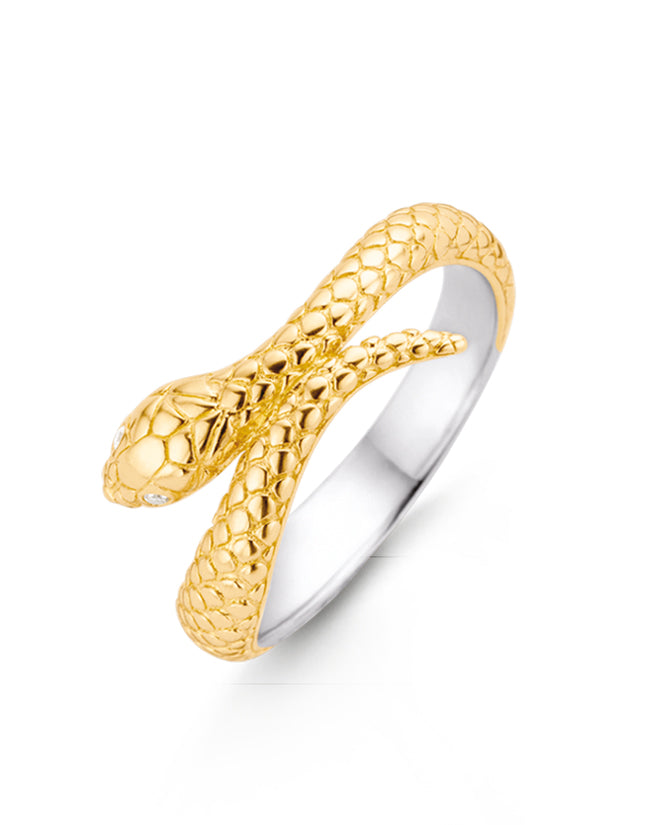 Ti Sento 18ct Yellow Gold Plated Silver Snake Ring