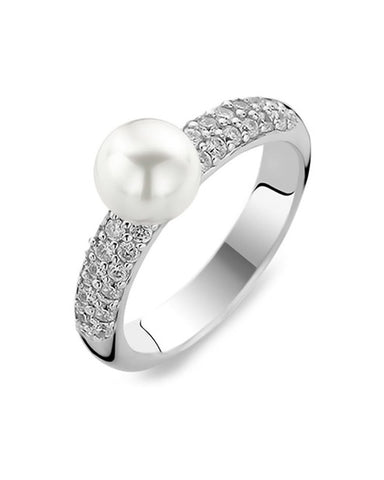 Ti Sento Sterling Silver Cubic Zirconia Shoulder Pearl Ring - 1559PW