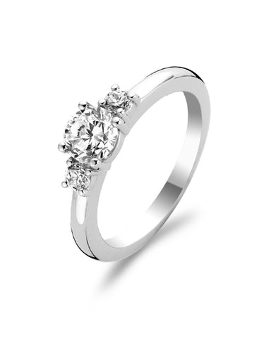Ti Sento Sterling Silver & Cubic Zirconia 3-Stone Ring