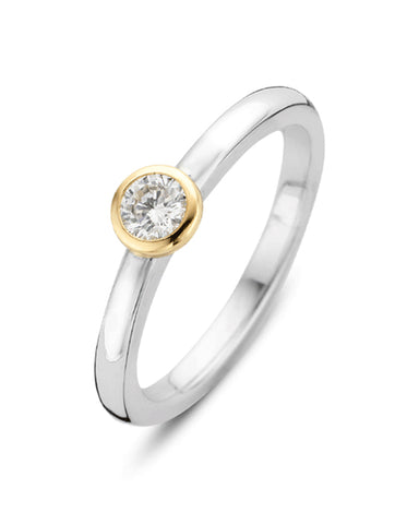 Ti Sento Milano 18ct Gold Plated Silver Ring with White Zirconia
