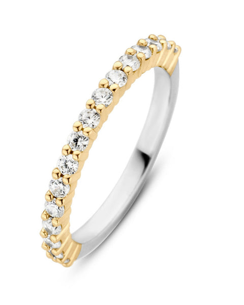 Ti Sento 18ct Gold Plated Silver & Zirconia Claw Set Ring