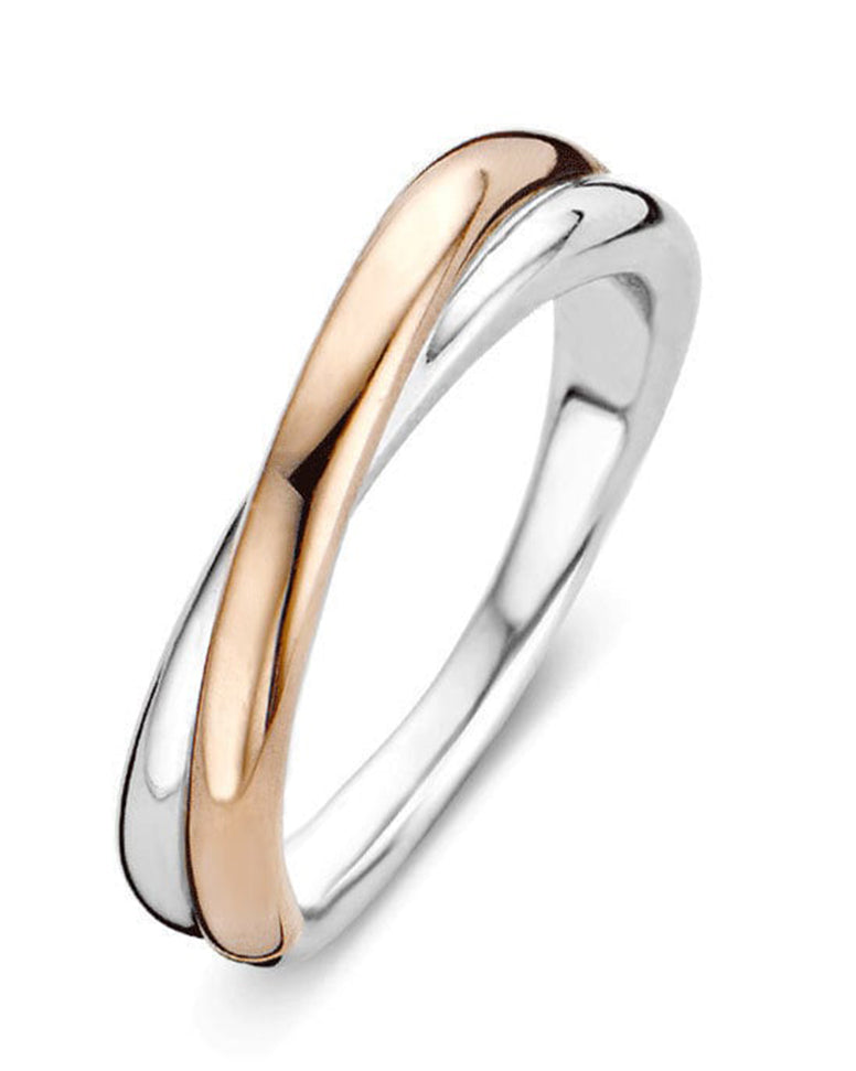 Ti Sento 18ct Rose Gold Plated Silver Crossover Ring