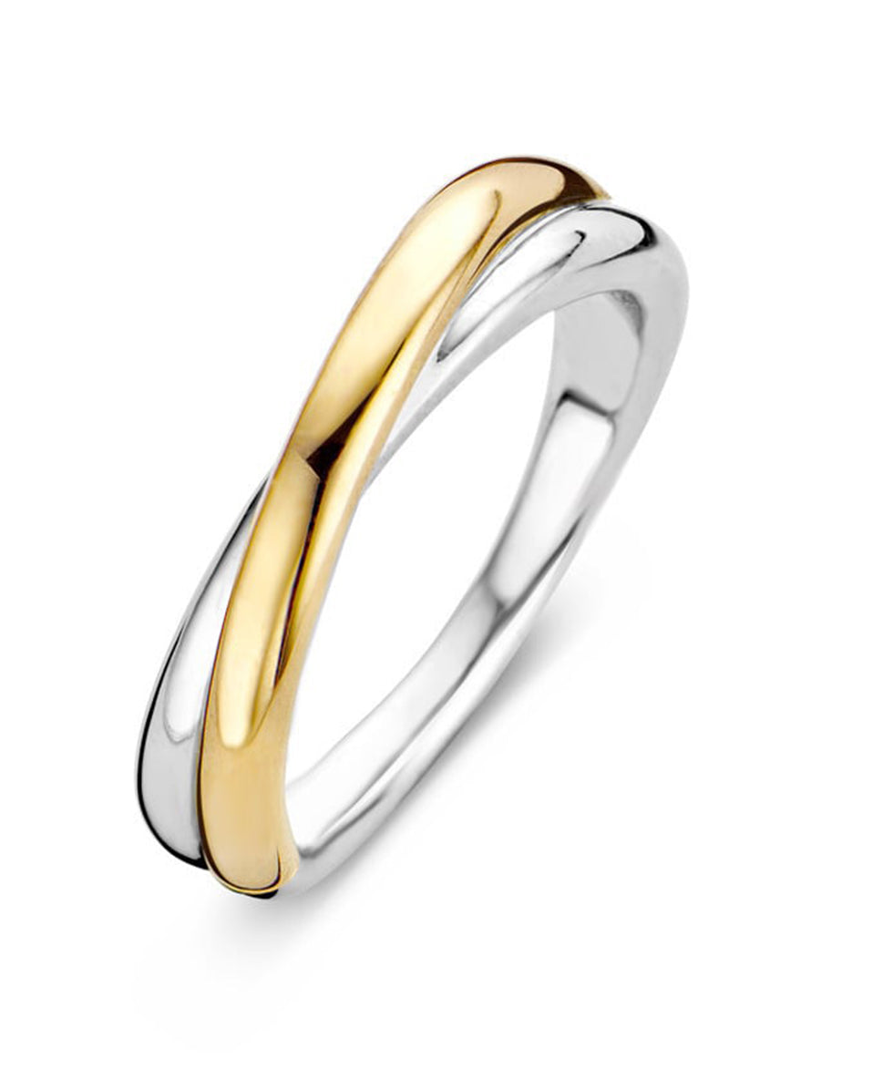 Ti Sento 18ct Gold Plated Silver Crossover Ring