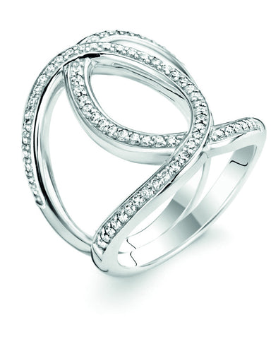 Ti Sento Silver Twist Ring with White Zirconia 1955ZI