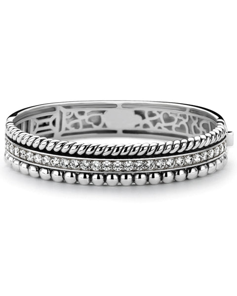 Ti Sento Large Sterling Silver Bangle with Cubic Zirconia