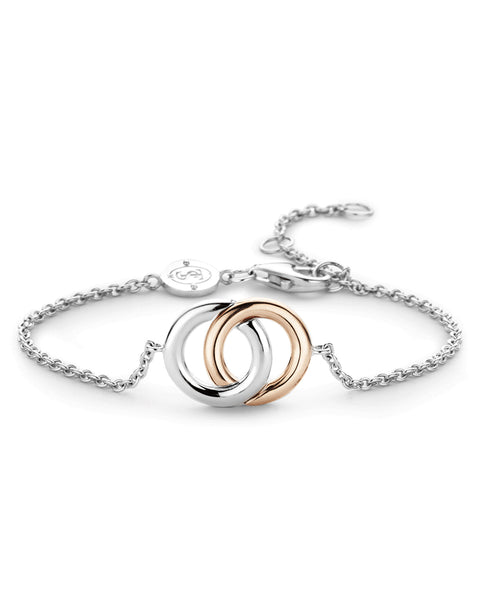 Ti Sento Double Halo Silver & 18ct Rose Gold Plated Bracelet