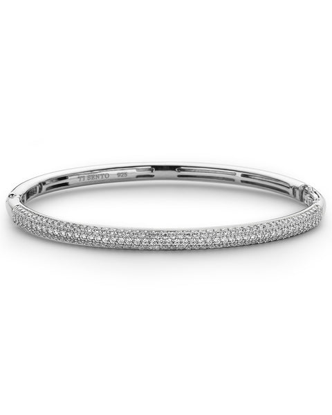Ti Sento Thin Sterling Silver & Cubic Zirconia Bangle