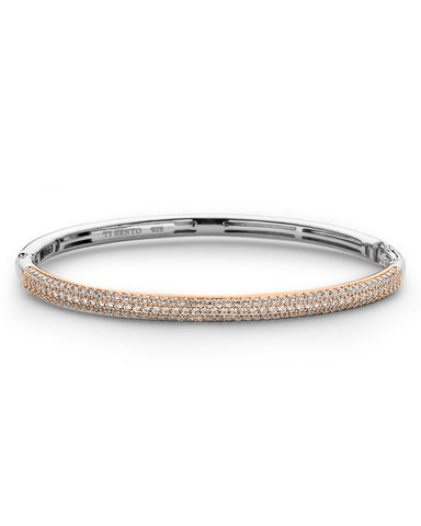 Ti Sento Thin 18ct Rose Gold Plated Silver & Zirconia Bangle