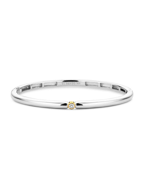Ti Sento 18ct Yellow Gold Plated Silver & Zirconia Bangle