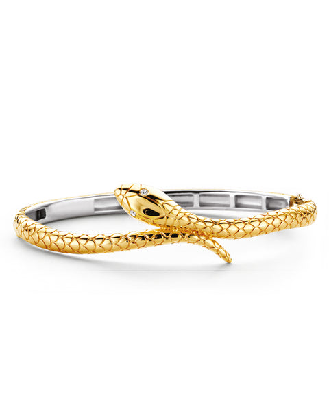 Ti Sento 18ct Yellow Gold Plated Silver Snake Bangle