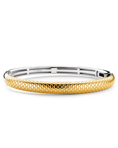 Ti Sento 18ct Yellow Gold Plated Silver Snake Skin Bangle