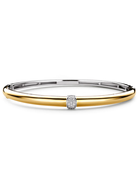 Ti Sento 18ct Gold Plated Silver & Pavé Zirconia Centre Bangle