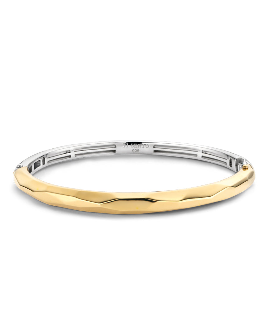 Ti Sento 18ct Gold Plated Silver Geometric Bangle
