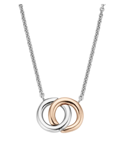 Ti Sento Double Halo Silver & 18ct Rose Gold Plated Necklace
