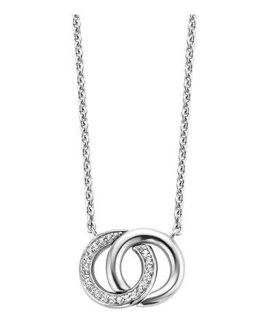 Ti Sento Double Halo Silver & Cubic Zirconia Necklace