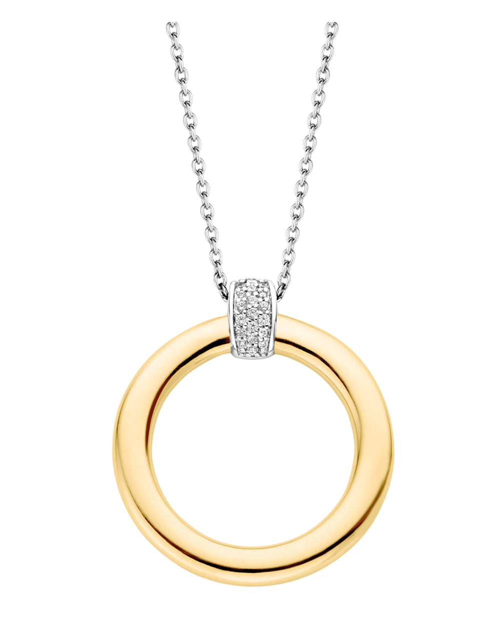 Ti Sento 18ct Yellow Gold Plated Silver & Zirconia Circle Necklace