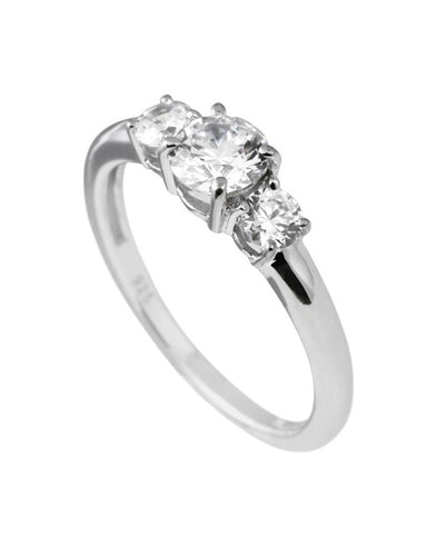 Diamonfire Silver Clear Cubic Zirconia Three Stone Ring - 61/1491/1/082