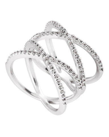 Diamonfire Silver Double Crossover Ring 61/1791/1/082