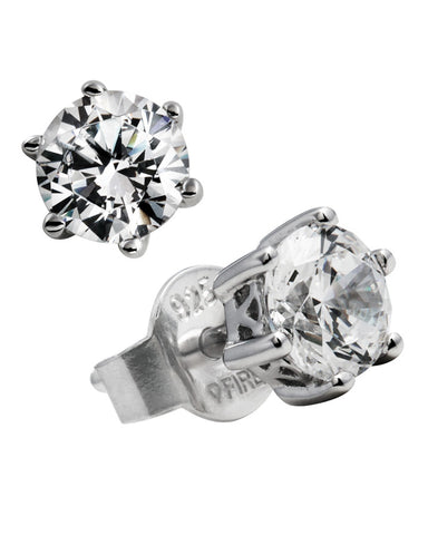 Diamonfire Sterling Silver & Cubic Zirconia 6 Claw Stud Earrings - 62/1267/1/082