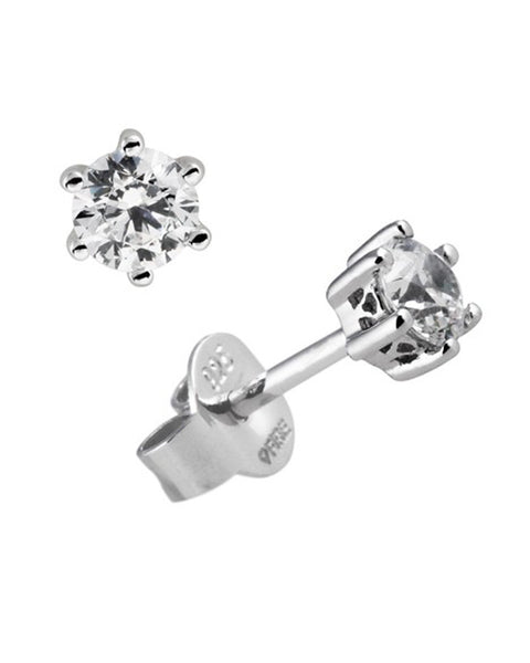 Diamonfire Silver & Clear Cubic Zirconia 6 Claw Stud Earrings - 62/1268/1/082