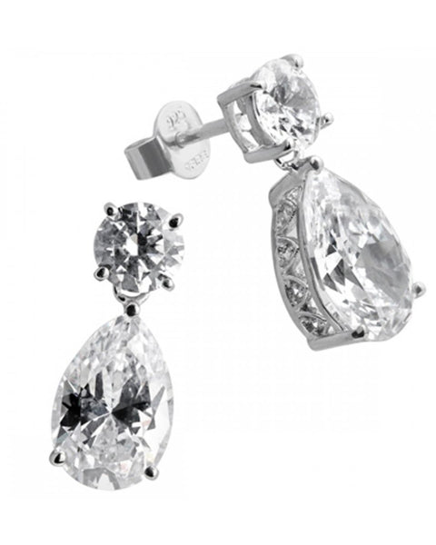 Diamonfire Silver Clear Cubic Zirconia Pear Drop Earrings - 62/1480/1/082