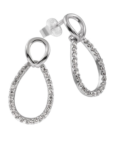 Diamonfire Oval Silver & Cubic Zirconia Earrings 62/1754/1/082