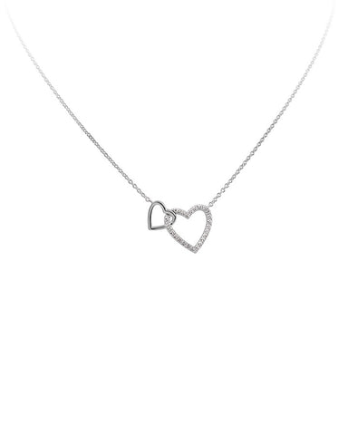 Diamonfire Double Heart Collier Necklace - 63/0983/1/082
