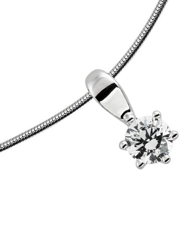 Diamonfire Silver Clear Cubic Zirconia 6 Claw Pendant - 65/1006/1/082