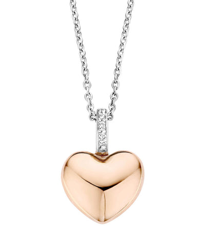Ti Sento Rose Gold & Sterling Silver Heart Pendant - 6745SR