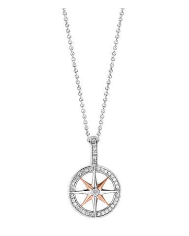 Ti Sento 18ct Rose Gold Plated Silver & Zirconia Compass Pendant