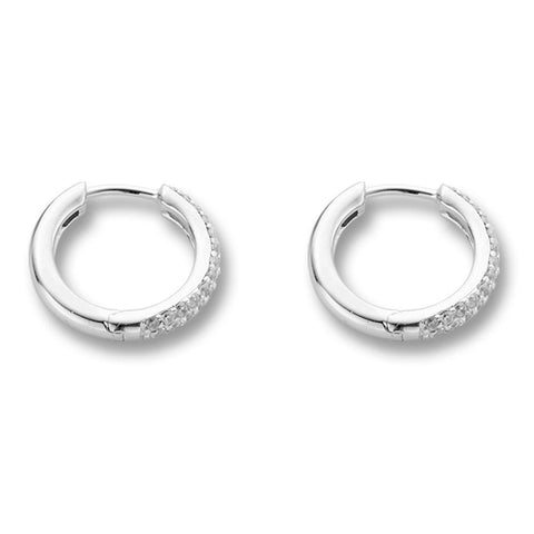 Ti Sento Sparkling Sterling Silver Hoop Earrings