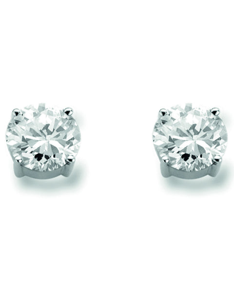 Ti Sento Silver Stud Earrings with White Zirconia 7319ZI