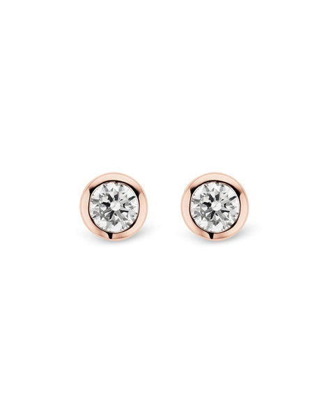 Ti Sento 18ct Rose Gold Plated Silver & Zirconia Stud Earrings